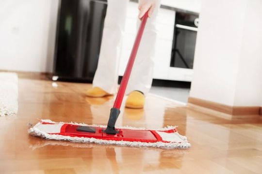 A person mopping the floor