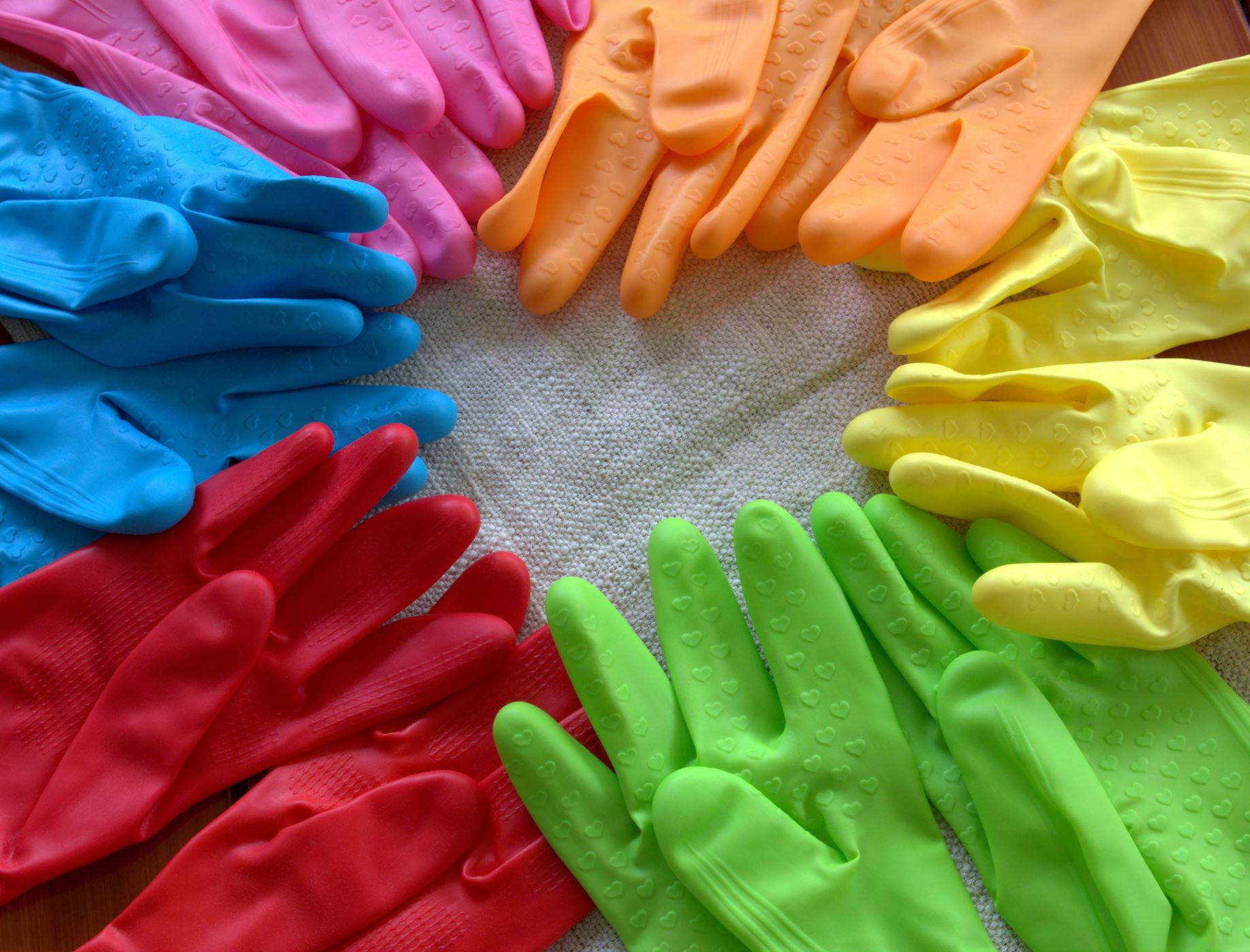 colourful rubber gloves